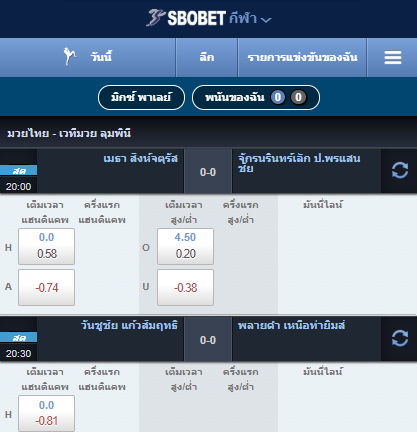 สมัครเว็บพนัน SBOBET เดิมพันมวยไทยออนไลน์ที่เปิดไห้ท่านแทงแทบทุกคู่